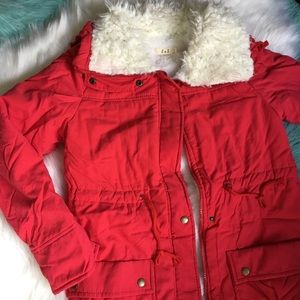 Jackets & Blazers - Red Fall To Winter Jacket  w warm fuzzy lining